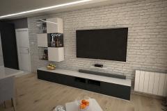076. salon scianka telewizyjna cegla biala drewno czarny bialy polysk livingroom wall tv white brick wood black white