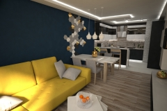 077. salon z kuchnia granatowy zolta sofa drewno bialy czarny polysk living room kitchen dark blue yellow couch wood white black gloss