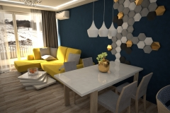 078. salon z kuchnia granatowy zolta sofa drewno bialy czarny polysk living room kitchen dark blue yellow couch wood white black gloss