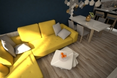 079. salon z kuchnia granatowy zolta sofa drewno bialy czarny polysk living room kitchen dark blue yellow couch wood white black gloss