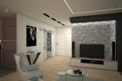 086. salon drewno fioletowy beton bialy szary turkusowy livingroom wood purple violet concrete white grey turquoise