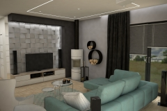 087. salon drewno fioletowy beton bialy szary turkusowy kominek livingroom wood purple violet concrete white grey turquoise fireplace