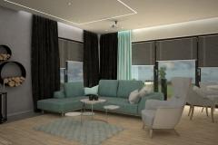 088. salon drewno fioletowy beton bialy szary turkusowy kominek livingroom wood purple violet concrete white grey turquoise fireplace
