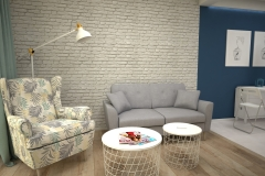 089. salon biala cegla drewno ikea meble granatowy livingroom white bricks wood ikeas furniture dark blue