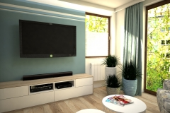 091. salon biala cegla drewno ikea meble granatowy zielonylivingroom white bricks wood ikeas furniture dark blue green