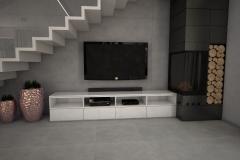 092. salon szary beton czarny bialy rozowe zloto nowoczesny livingroom modern white grey black pink gold concrete