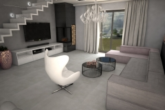 093. salon szary beton czarny bialy rozowe zloto nowoczesny livingroom modern white grey black pink gold concrete