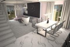094. salon szary beton czarny bialy rozowe zloto nowoczesny livingroom modern white grey black pink gold concrete