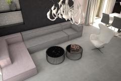 095. salon szary beton czarny bialy rozowe zloto nowoczesny livingroom modern white grey black pink gold concrete
