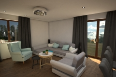096. salon drewno szary turkusowy bialy loft livingroom wood turqoise white