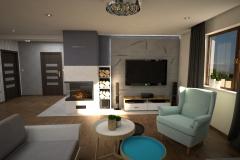 097. salon drewno szary turkusowy bialy loft livingroom wood turqoise white