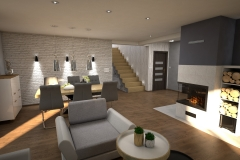 098. salon drewno szary turkusowy bialy loft livingroom wood turqoise white