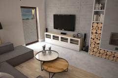 103. salon loft cegla jadalnia drewno kominek livingroom industrial wood brick fireplace