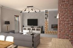 104. salon loft cegla jadalnia drewno kominek livingroom industrial wood brick fireplace