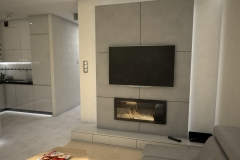 105. salon z biokominkiem beton drewno jasny livingroom bio fireplace concrete wood light