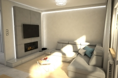 106.  salon z biokominkiem beton drewno jasny livingroom bio fireplace concrete wood light