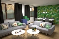 107. salon z tapeta w liscie szary zielony granatowy drewno dlugie zaslony livingroom wallpaper leaves green dark blue wood grey
