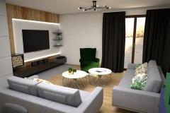 108. salon z tapeta w liscie szary zielony granatowy drewno dlugie zaslony livingroom wallpaper leaves green dark blue wood grey
