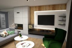 109. salon z tapeta w liscie szary zielony granatowy drewno dlugie zaslony livingroom wallpaper leaves green dark blue wood grey