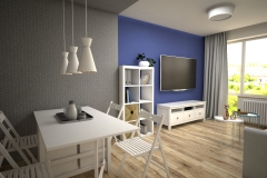 110. salon meble ikea kallax granatowy szary livingroom dark blue white wood