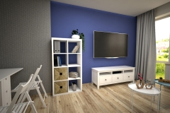 111. salon meble ikea kallax granatowy szary livingroom dark blue white wood