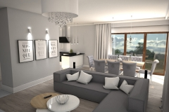113.  salon z jadalnia glamour jasny bialy szary szklo livingroom dining room light white grey glass