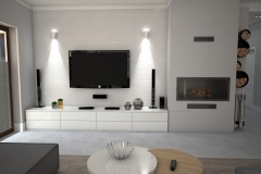 114.  salon z jadalnia glamour jasny bialy szary szklo livingroom dining room light white grey glass