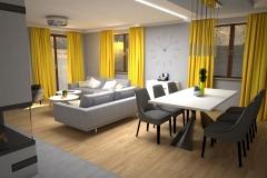 115. salon z zoltym akcentem szare dodatki drewno bialy livingroom yellow accent grey deco wood white