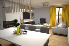 116.  salon z zoltym akcentem szare dodatki drewno bialy livingroom yellow accent grey deco wood white