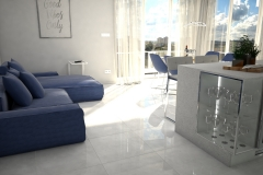117. salon z jadalnia granatowa sofa beton jasne plytki livingroom dining room concrete dark blue light tiles