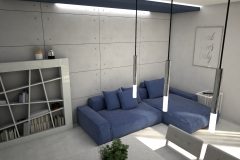 118. salon z jadalnia granatowa sofa beton jasne plytki livingroom dining room concrete dark blue light tiles