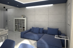 119. salon z jadalnia granatowa sofa beton jasne plytki livingroom dining room concrete dark blue light tiles