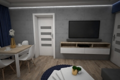 120. salon beton dab sonoma szary granatowy drewno livingroom concrete grey wood oak