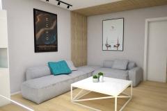 131.-salon-szary-drewno-lamele-turkusowy-bialy-stolik-kawowy-beton