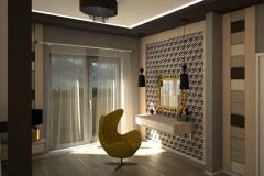 0016. sypialnia zlota jasne drewno szary czarny tapicerowany bedroom gold light wood black