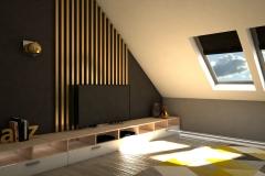0017. sypialnia zlota jasne drewno szary czarny tapicerowany bedroom gold light wood black