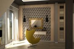 0018. sypialnia zlota jasne drewno szary czarny tapicerowany bedroom gold light wood black