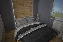 0019. sypialnia szary bez beton drewno bedroom grey beige concret wood