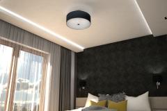0024. sypialnia musztardowa czarna nowoczesna tapeta drewno krem polysk bedroom mustard black modern new design wallpaper cream hight gloss