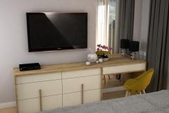 0025. sypialnia musztardowa czarna nowoczesna tapeta drewno krem polysk bedroom mustard black modern new design wallpaper cream hight gloss