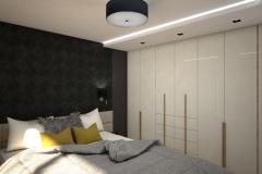 0026. sypialnia musztardowa czarna nowoczesna tapeta drewno krem polysk bedroom mustard black modern new design wallpaper cream hight gloss