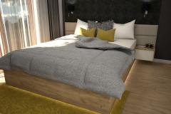 0027. sypialnia musztardowa czarna nowoczesna tapeta drewno krem polysk bedroom mustard black modern new design wallpaper cream hight gloss