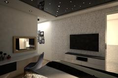028. sypialnia bialy granatowy czarny zloty gwiazdaniebo bedroom white dark blue black gold sky stars