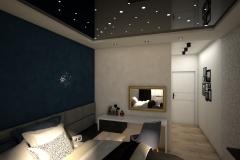 029. sypialnia bialy granatowy czarny zloty gwiazdaniebo bedroom white dark blue black gold sky stars