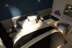 030. sypialnia bialy granatowy czarny zloty gwiazdaniebo bedroom white dark blue black gold sky stars