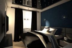 031. sypialnia bialy granatowy czarny zloty gwiazdaniebo bedroom white dark blue black gold sky stars