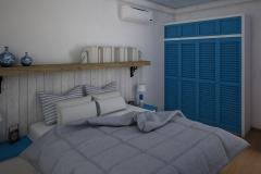 032. sypialnia w grecikm stylu biala niebieska drewno bedroom greek style white blue wood
