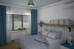 033. sypialnia w grecikm stylu biala niebieska drewno bedroom greek style white blue wood