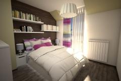 034. sypialnia w stylu boho, fukcja drewno oliwka bedroom boho pink wood