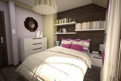 035. sypialnia w stylu boho, fukcja drewno oliwka bedroom boho pink wood